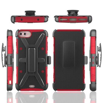 คอมโบขาตั้งแบบร่างกายเกราะป้องกันเคสกันกระแทกสำหรับ Apple iPhone 7 Plus-สีแดง