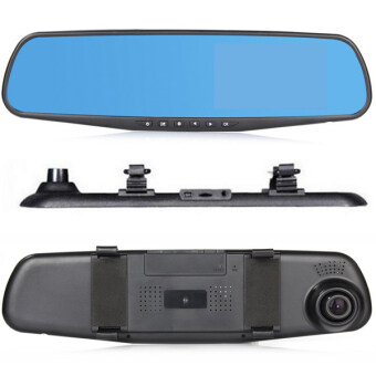 กล้องติดรถยนต์ รูปทรงกระจกมองหลัง Car Camera Video Recorder Rear View Mirror Camcorder DVR (Black)