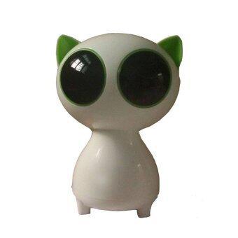 speaker USB ลำโพงคอมพิวเตอร์ รูปแมวน่ารัก (สีเขียว/ขาว)