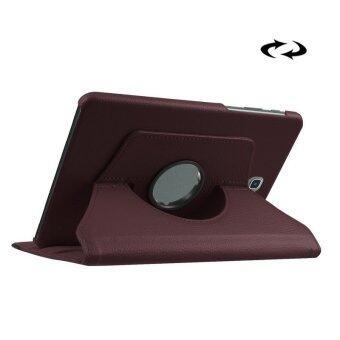 ลิ้นจี่พื้นผิว 360องศาหมุนเคสหนังที่มีด้ามสำหรับ Samsung Galaxy Tab S2 8.0/T715/T710 (กาแฟ)