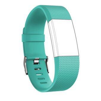 Seeme สายสำหรับ Fitbit ประจุ 2 ซิลิโคนนิ่มรัดสายปรับได้เปลี่ยนกีฬาสำหรับ Fitbit Charge2 อัตราการเต้นของหัวใจ+ออกกำลังกายสายรัดข้อมือ (สีฟ้า)Intl
