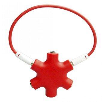 DT แจ็คต่อเพิ่มหูฟัง 6 ช่อง 3.5มม.(สีแดง)