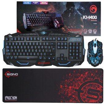 Marvo ชุด keyboard คีย์บอร์ด + mouse เมาส์ ไฟ 3 สี รุ่น KM400 + แผ่นรองเมาส์ SIGNO MT-312 แผ่นยาว