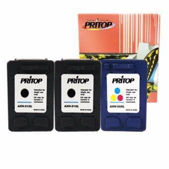 PRITOP HP ink 21XL/22XL ใช้กับปริ้นเตอร์ DeskJet D1360, D2330, D2360 All-in-One F340, F380 / Office jet 4315 หมึกสีดำ 2 ตลับ หมึกสี 1 ตลับ