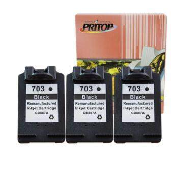 PRITOP HP ink Cartridge 703/703B/703BK/CD887A /*3 Pack ใช้กับปริ้นเตอร์ HP DeskJet K209A/K109A/F735 AIO Pritop