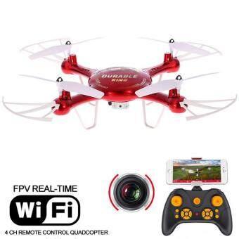 Drone ติดกล้อง WiFi พร้อมระบบถ่ายทอดสดแบบ Realtime(NEW มีระบบ กันหลงทิศ + ปุ่มบินกลับอัตโนมัติ)สีแดง
