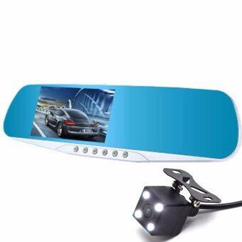 กล้องรถยนต์ รูปทรงกระจกมองหลัง พร้อมกล้องถอยหลัง รุ่น X20 Full HD 1080P มีไฟ LED หน้าหลัง