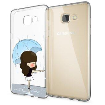 AFTERSHOCK TPU Case Samsung Galaxy A9 (เคสใสพิมพ์ลาย Rain Rain) / Thin 0.33 mm(Blue)