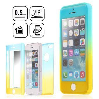 360 มีอารมณ์ผสมแก้ว+สังเคราะห์ปกแข็งเคสสำหรับ iPhone SE 5S 5 (สีน้ำเงิน+สีเหลือง) (ต่างประเทศ)