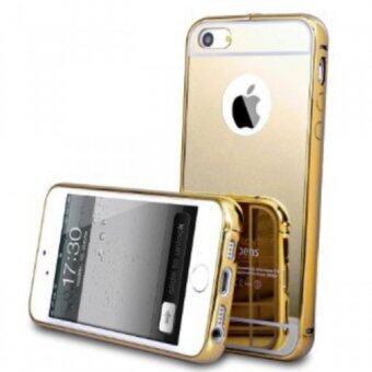 เคส Case Iphone5 5s SE เคสกระจก ไอโฟน5 New Bumper Mirror Case 2 in 1 Gold 18k 24k Aluminium Miror ขอบอลูมิเนียม ใหม่ สีทอง