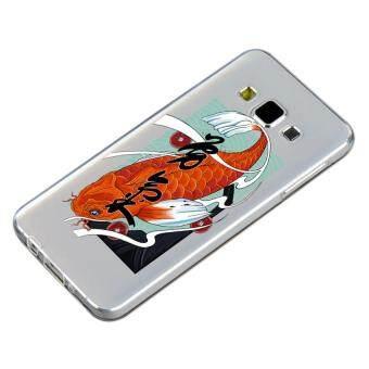 HugCase TPU เคส Samsung Galaxy A8เคสโทรศัพท์พิมพ์ลาย Koi เนื้อบาง 0.3 mm