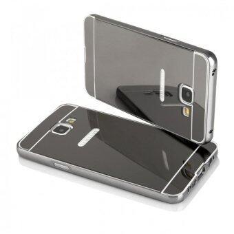 Case Samsung J7 prime เคสกระจก ราคาถูก พร้อมส่ง เคสซัมซุง New Bumper Mirror Case 2 in 1 Black 18k 24k Aluminium Miror ขอบอลูมิเนียม ใหม่ สีดำ