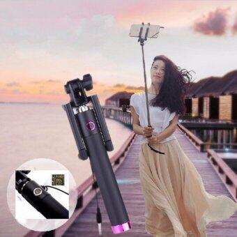 ไม้เซลฟี่สีดำพร้อมตัวกดถ่ายรูปในตัว Monopod Selfie Stick