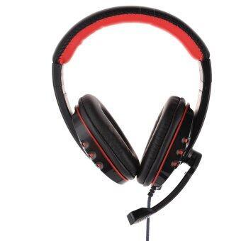 ไมโครโฟนสเตอริโอโปรผ่านหูโทรศัพท์ด้วยชุดหูฟังไมค์เล่นเกมสำหรับ PS3 แล็ปท็อปสีดำ