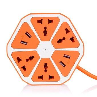 Harga Universal 4 USB Hexagon Power Socket Extension Socket Plug Electrical Outlet US Plug 250V 2500W (Orange)