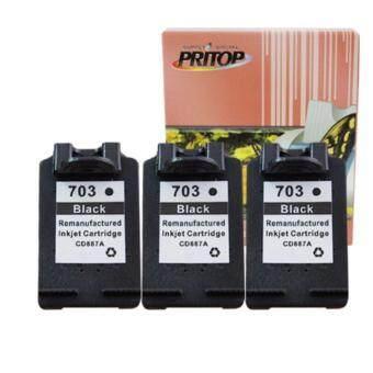 PRITOP HP DeskJet K209A/K109A/F735 AIO ใช้ตลับหมึกอิงค์เทียบเท่า รุ่น 703/703B/703BK/CD887A /*3 Pack Pritop
