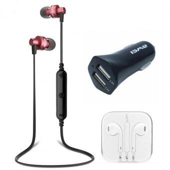 AWEI Wireless (ของแท้) Sports Earphone A990BL (Red) +Car Charger+หูฟัง