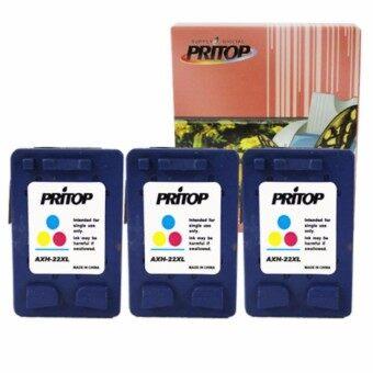HP DeskJet 3910,3915,3930,3940,D1330,D1360,D2330,D2360 /All-in-One F340, F380 /Office jet 4315 ใช้ตลับหมึกอิงค์เทียบเท่า รุ่น 22/22CO/22XL/C9352CA /*3 pack Pritop