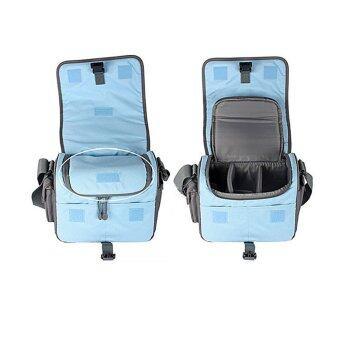 กล้องกระเป๋าเคสเดียวไหล่สำหรับ Nikon Canon Sony Panasonic SLR DSLR กล้อง (สีเทา/สีน้ำเงิน)-ระหว่างประเทศ