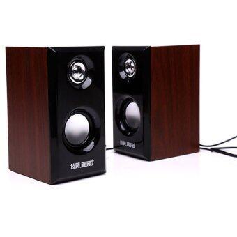 ข้อมูล BEST JiTeng Wooden 3D Hi-Fi Speaker ลำโพง คอมพิวเตอร์ รุ่น JT04 - Brown แนะนำ