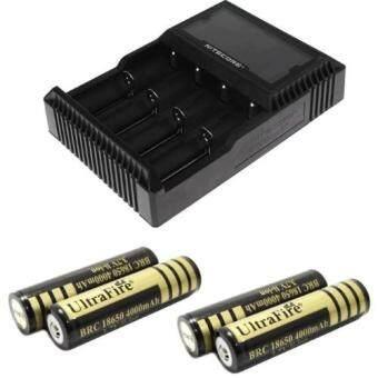 alithai Nitecore ที่ชาร์จถ่าน 4 ก้อน รุ่น D4 + Ultrafire ถ่านชาร์จ 18650 3.7V 4000 mAh 4 ก้อน (สีทอง)