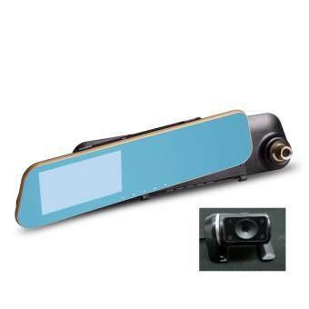 กล้องติดรถยนต์ Vehicle Blackbox DVR Full HD 1080P รูปทรงกระจกมองหลัง พร้อมกล้องถอยหลัง รุ่นF1C V.2