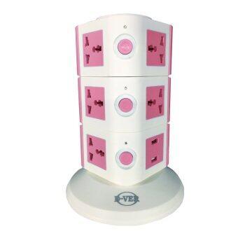 D-VER ปลั๊กคอนโด Plug Condo USB 3 ชั้น (สีชมพู)