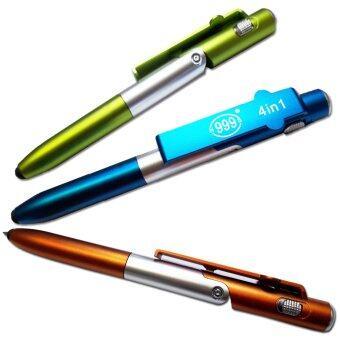 ปากกาสไตลัส 4-in-1 สำหรับ Smartphone/ iPad มีไฟฉายแบกไลท์/สไตลัส/ปากกา/ที่วางมือถือ (สีน้ำเงิน)
