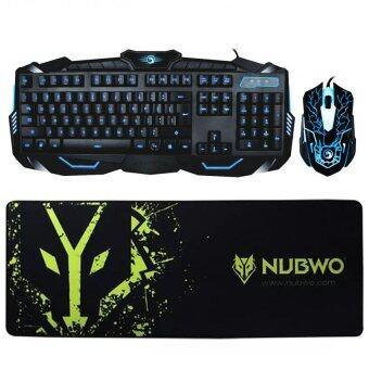 Marvo ชุด keyboard คีย์บอร์ด + mouse เมาส์ ไฟ 3 สี รุ่น KM400 + แผ่นรองเมาส์ NUBWO NP009(770x259x5mm)