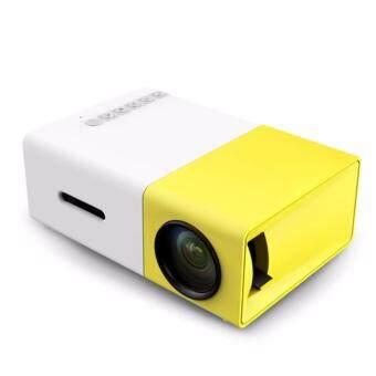 โปรเจคเตอร์ Newest Mini LED Projector Home Theater Beamer Built-in Battery รุ่น YG300 - สีเหลืองขาว