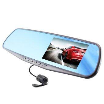 Center กล้องติดรถยนต์ Vehicle Blackbox DVR Full HD 1080P รูปทรงกระจกมองหลัง พร้อมกล้องถอยหลัง (Black)