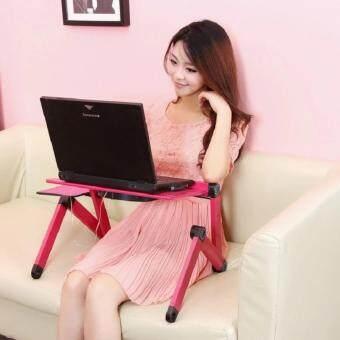 โต๊ะวางโน๊ตบุ๊ค แบบพกพา ปรับได้ 360 องศา พร้อมพัดลมระบายอากาศและที่วางเม้าส์ สีแดง HomeSmile