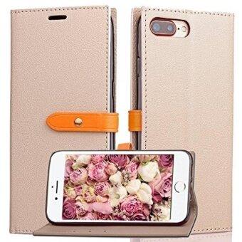 iphone 7 Plus Wallet CaseKudex Folio Flip Premium PU Leather Slim Fit Kickstand Vintage Design Full Body ShockProof Protection Purse Cover with 3 Card Slots  Hidden Pocket for Women/Men (Beige) - intl