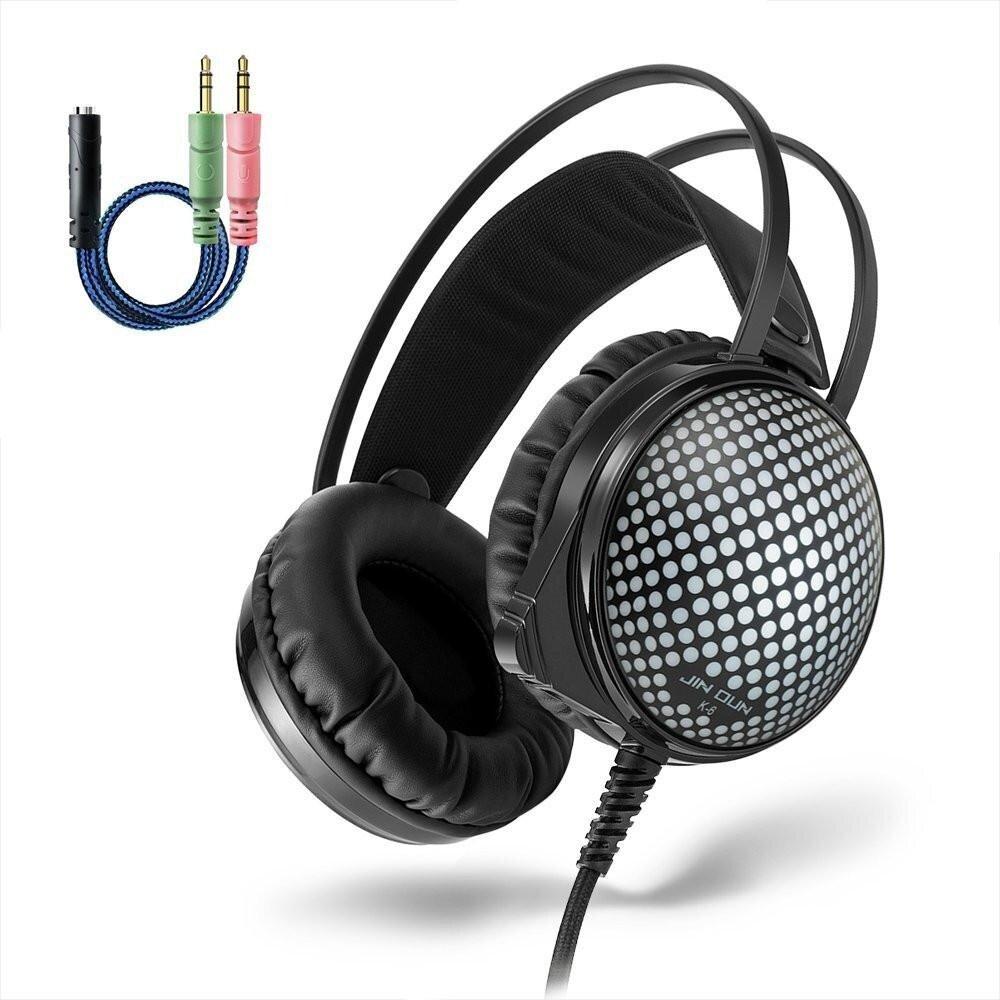 JINDUN Gaming Headset With Mic Wired LED Gaming Headset Self-Adjusting Headband .