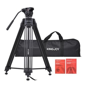 Kingjoy VT-2500 152cm/5ft Camera Camcorder Tripod with 360� Fluid Damping Head/ Stable Middle Support/ Nail Foot Mg-Al Alloy Max. Load 8kg/18Lbs with Carry Bag for Canon Nikon Sony DSLR ILDC - intl
