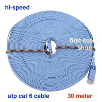 สาย Lan สำเร็จรูปพร้อมใช้งาน สายแบน 30 เมตร, 30 meter RJ45 CAT6 Ethernet Flat LAN Cable UTP Patch Router Cables hi-speed 1000M
