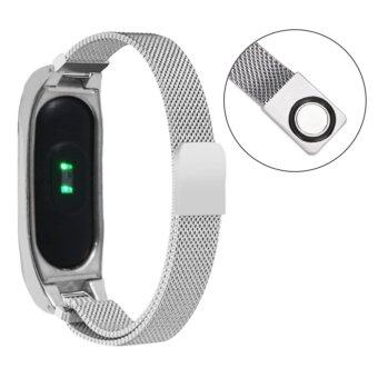 Lantoo Fashion comfortable Milanese Stainless Steel Watch Band Strap + Metal Case For Xiaomi Mi Band 2 (Silver) - intl