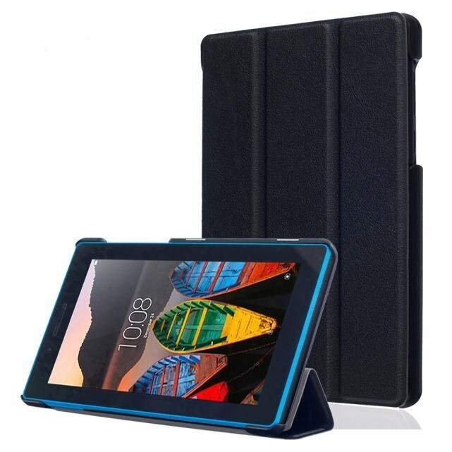 Leather Case Stand Cover For Lenovo Tab3 7 Essential Black - intl