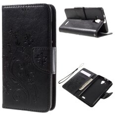 Imprint Flower Butterfly Leather Wallet Case for Lenovo A536 (Black)