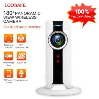 LOOSAFE 1080P 180 Degree Panorama Wireless IP Camera Network 2.0 Megapixel Security Wide Angle of View and Remote Access and Two-way Audio Home Monitoring - intl