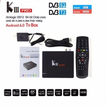 Harga MECOOL KIII pro DVB S2 + T2 3GB / 16GB Octa Core Android 6.0 SmartHybrid TV Box Amlogic S912 4K Media Player VS KII PRO KI PRO - intl