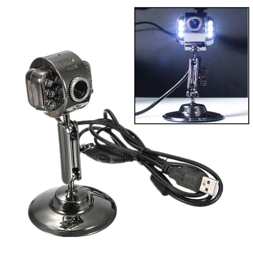 Metal USB HD 6 LED Night Vision Webcam Camera w/ Mic Microphone for Laptop PC