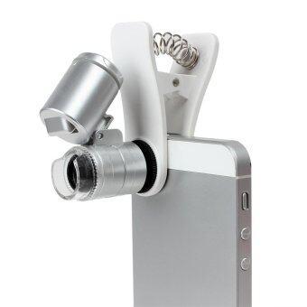 Mini 60X Optical Glass 3 LEDs Clip Microscope Lens for Universal Mobile Phones - intl