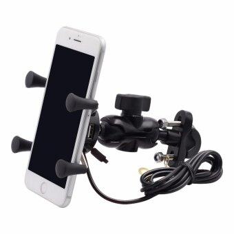 Motorcycle Mount X-Grip Clamp Holder w/USB Charger Socket For iPhone Samsung - intl