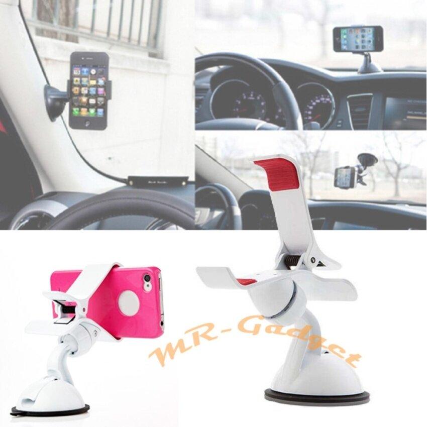 MR-GADGET ที่วางโทรศัพท์ในรถ ติดกระจกรถ ขาตั้งที่วางโทรศัพท์มือถือในรถยนต์ Car Universal Holder สีขาว