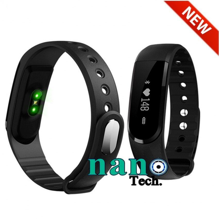 Nanotech New 2016 Sport Smart Wrist Band Heart Rate Bracelet Smartband - Pedometer Remote Control SMS Reminder Anti-Lost - สีดำ