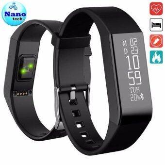 Nanotech สายรัดข้อมือเพื่อสุขภาพ Newest Vidonn A6 Heart Rate Monitor Bluetooth Smart Wristband IP67 Waterproof Sport Fitness Tracker - BLACK