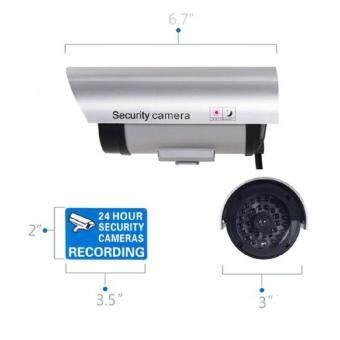 niceEshop กันน้ำกลางแจ้งปลอมกล้อง Dummyการรักษาความปลอดภัยที่มีไฟกระพริบสีเงิน (image 2)