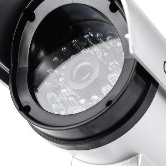 niceEshop กันน้ำกลางแจ้งปลอมกล้อง Dummyการรักษาความปลอดภัยที่มีไฟกระพริบสีเงิน (image 1)