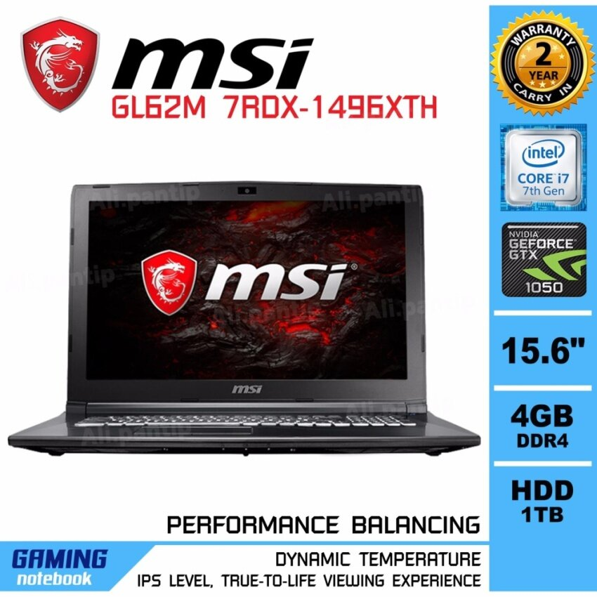 Notebook MSI GL62M 7RDX-1496XTH  (Black)